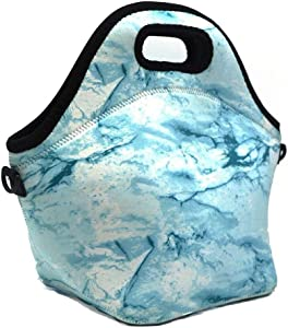 Neoprene Lunch Tote,Insulated Waterproof Lunch Bags For Men,Women,Adults,Kids,Girls.Reusable,Washable,Water-proof Foldable,Light,Zipper (LIGHT BLUE)