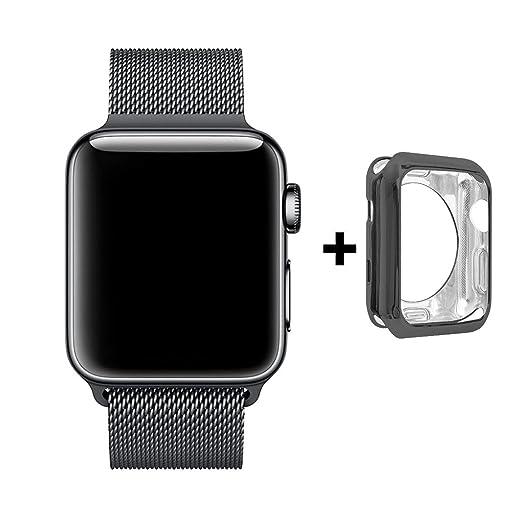 4 opinioni per Cinturino e Custodia per Apple Watch 42mm, Anello in Maglia Milanese in Acciaio