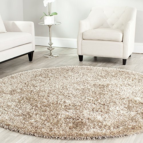 Handmade Polyester Rug - Safavieh Malibu Shag Collection MLS431N Handmade Natural Polyester Round Area Rug (7' Diameter)