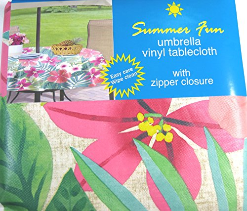Tropical Flowers Vinyl Umbrella Tablecloth With Hole And