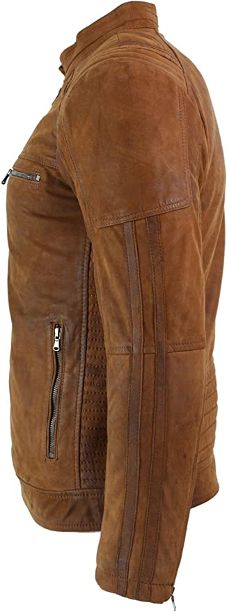 Mens Real Suede Leather Retro Vintage Camel Zip Biker Racing Jacket Nehru Collar