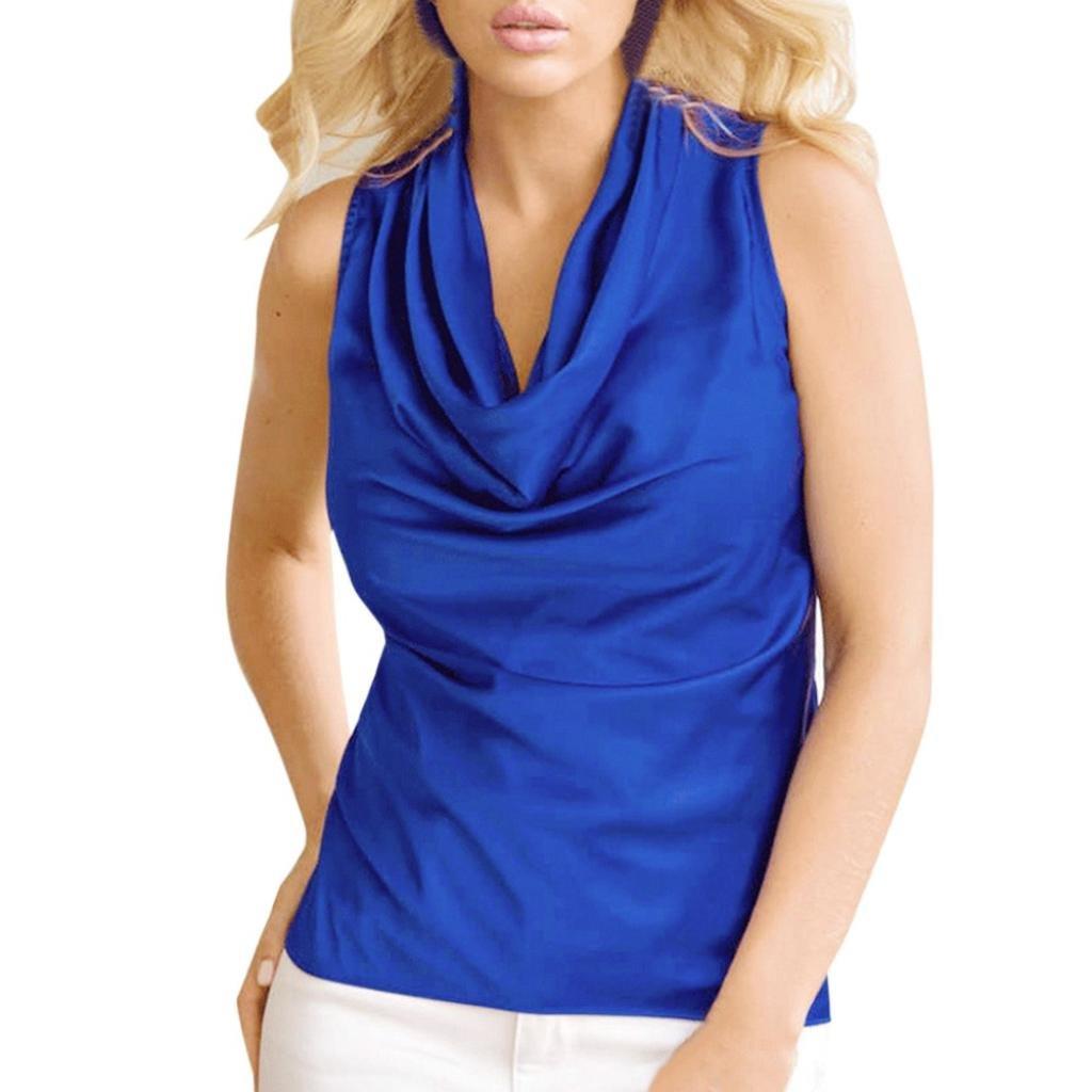 NREALY Women Collar Loose T-Shirt Sleeveless Tops Summer Vest Tank Tops NREALY-Blouse-0523