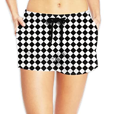 fd7a651fd Image Unavailable. Image not available for. Color: Doppyee Chess  Checkerboard Printing Women's Board Shorts Swim Trunks Beach Board Shorts  Swimwear, Surfing ...