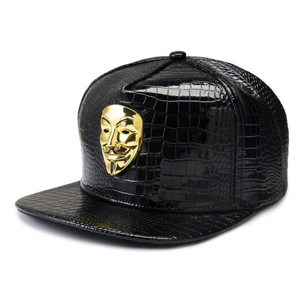 ab7bf33bdb1 Baseball Cap for Men Black Hip-hop Style Flat Brim Baseball Cap Women Sun  Hat Snapback Hat for Boys (Bronze Vendetta Mask Badge Cap