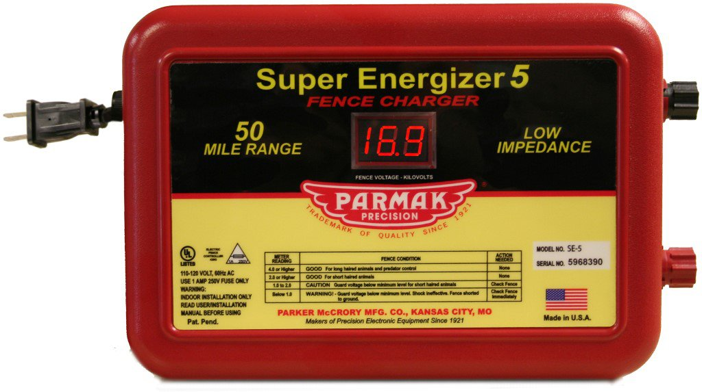 Parmak Super Energizer 5 Low Impedance 110/120 Volt 50 Mile Range Electric Fence Controller SE5 by Parmak
