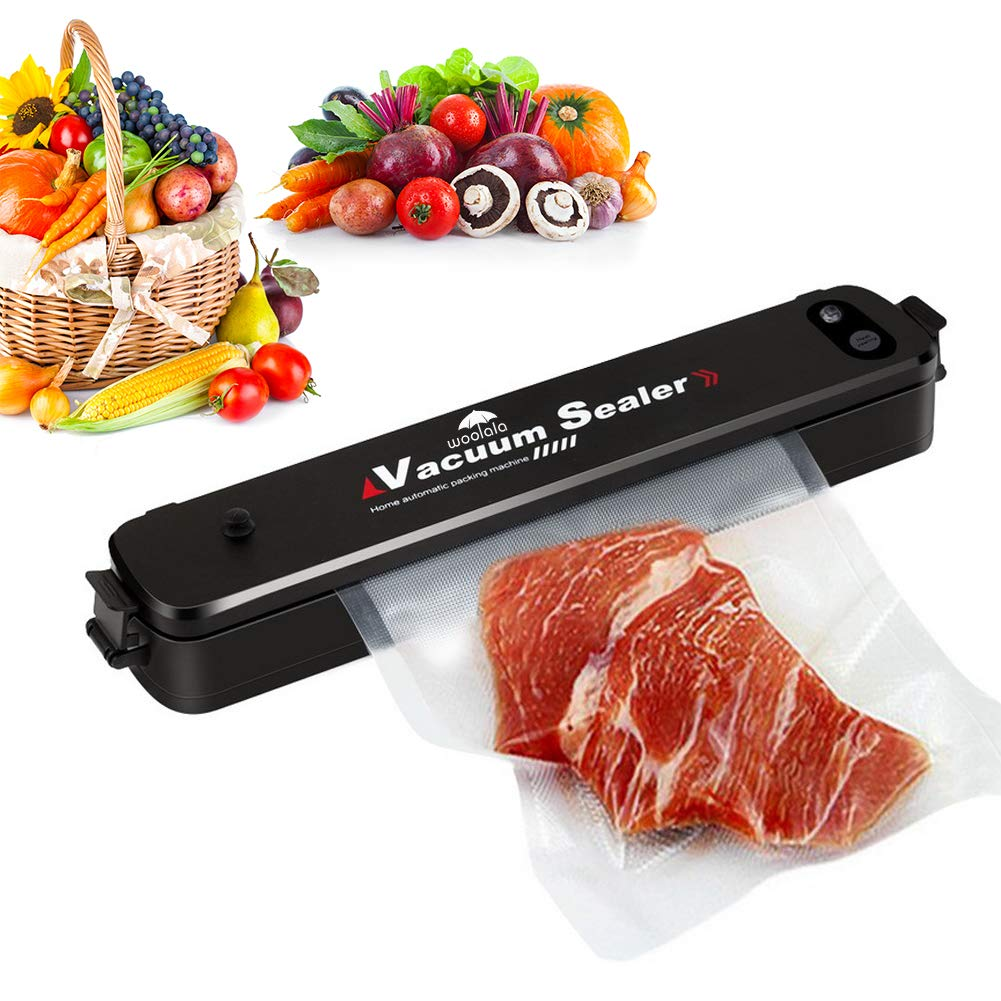 Vacuum Sealer Food Saver, Woolala Automatic Vacuum Sealing System with Starter Kit for Dry & Moist Food Fresh, Portable Food Storage Machine, One Button Operation