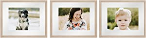 Sheffield Home Decor Collection- 3 Piece Picture Frame Set, Gallery Set, 11x14in, Matted to 8x10in (Natural)