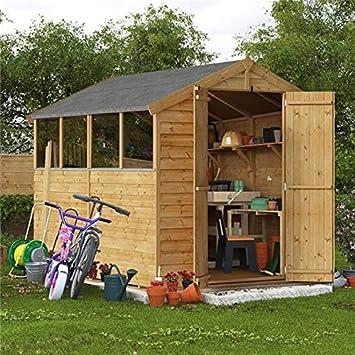 Cobertizo de madera con ventana, paneles superpuesto para almacenamiento de 2, 43 x 1, 82 m.: Amazon.es: Jardín