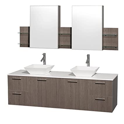 Tremendous Wyndham Collection Amare 72 Inch Double Bathroom Vanity In Gray Oak With White Man Made Stone Top With White Porcelain Sinks And Medicine Cabinets Interior Design Ideas Inesswwsoteloinfo