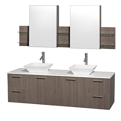 Wyndham Collection Amare 72 Inch Double Bathroom Vanity In Grey Oak With  White Man Made