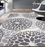 Rugshop Modern Floral Circles Design Area Rug, 5' x 7', Gray