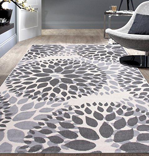 5x7 Floral Designs - Rugshop Modern Floral Circles Design Area Rug, 5' x 7', Gray