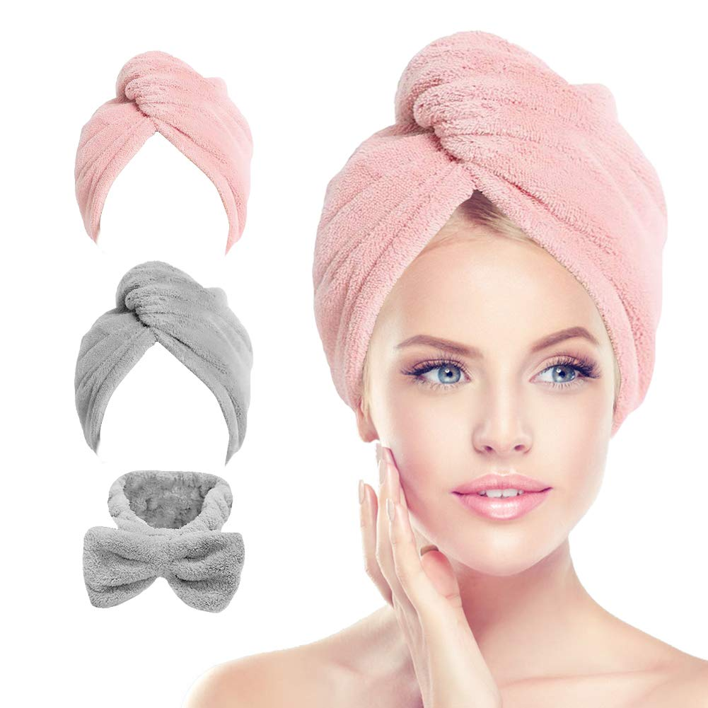 Hair Towel Wrap Turban, Microfiber Hair Drying Towels Quick Dry Hair Hat Drying Shower Head Towels Wrapped Bath Cap Anti Frizz Hair Care Dryer Towel for Women Girl Wet/Long/Curly/Thick Hair