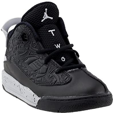 e428d4d37b0cb4 Nike Baby Boys Jordan Dub Zero BT Black Wolf Grey-White Leather Size 4C