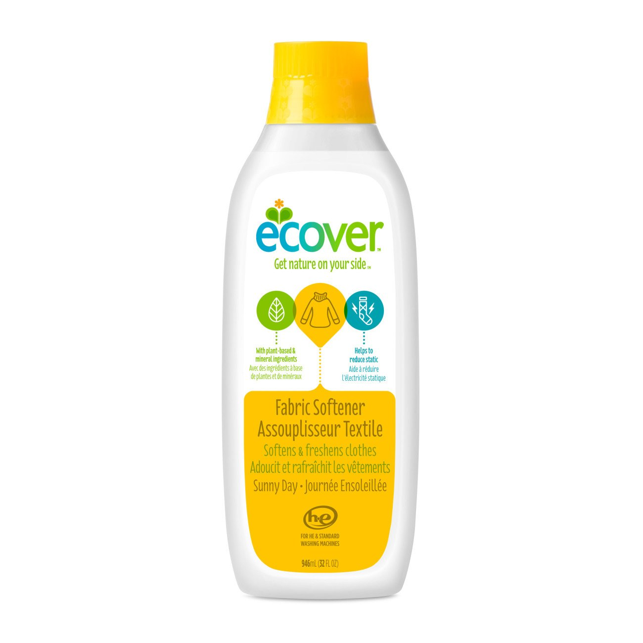 Ecover Fabric Softener Liquid, Sunny Day, 32 Fl Oz, Pack of 12