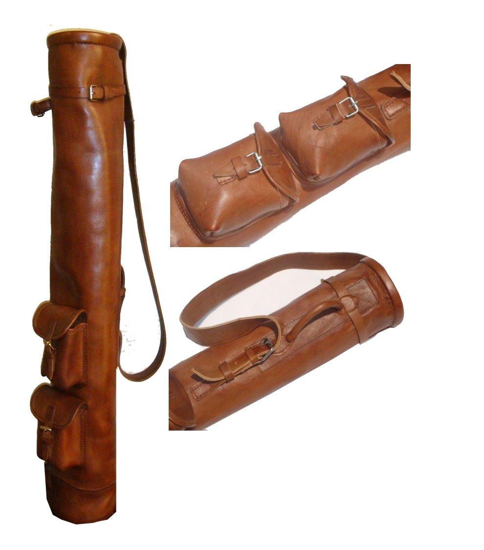 Vintage Tan piel Tube Golf Club Bolsa + 2 Pockets: Amazon.es ...
