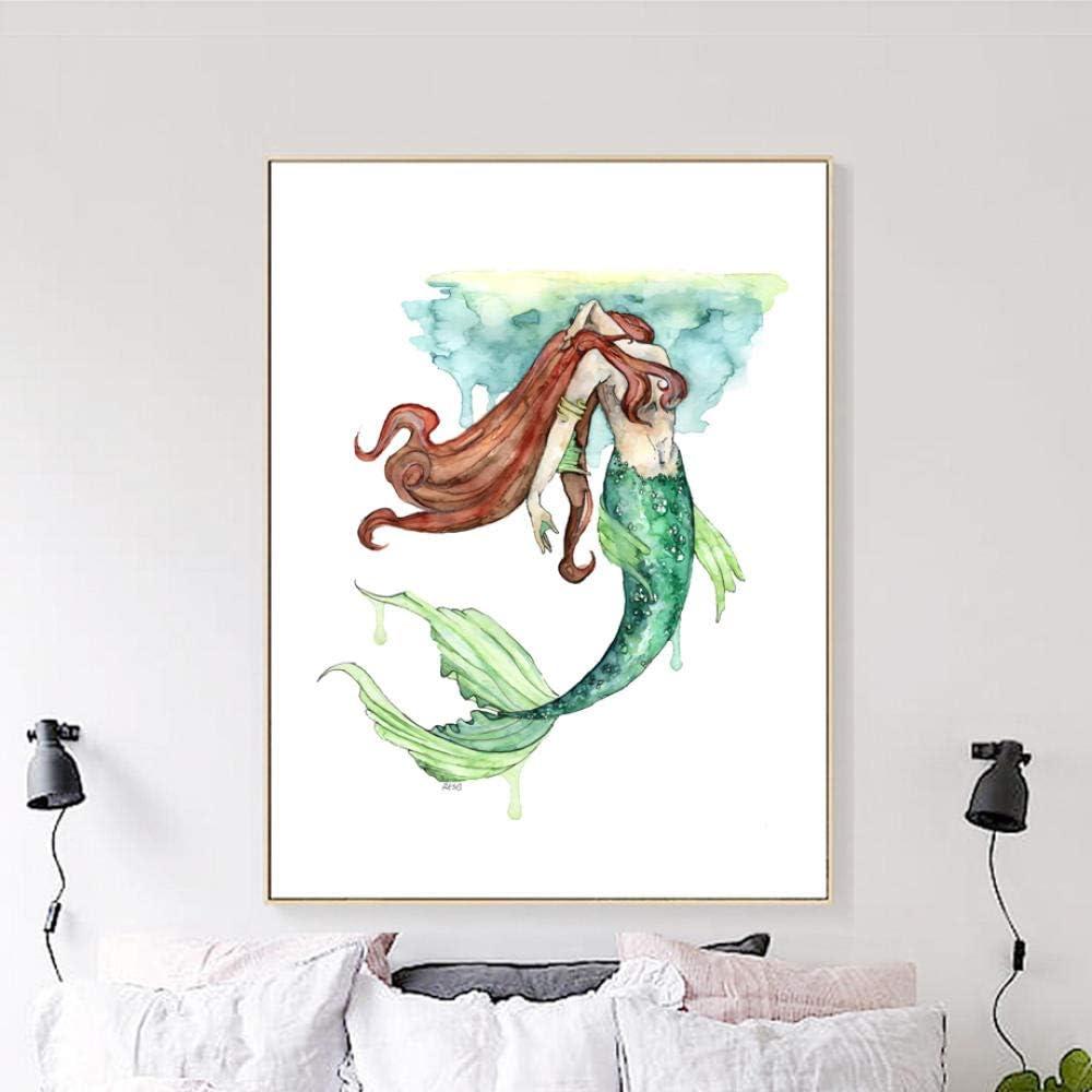 Niña sirena princesa pared arte lienzo pintura, acuarela carteles e impresiones cuadros abstractos para decoración de la sala de estar 60x80 cm sin marco