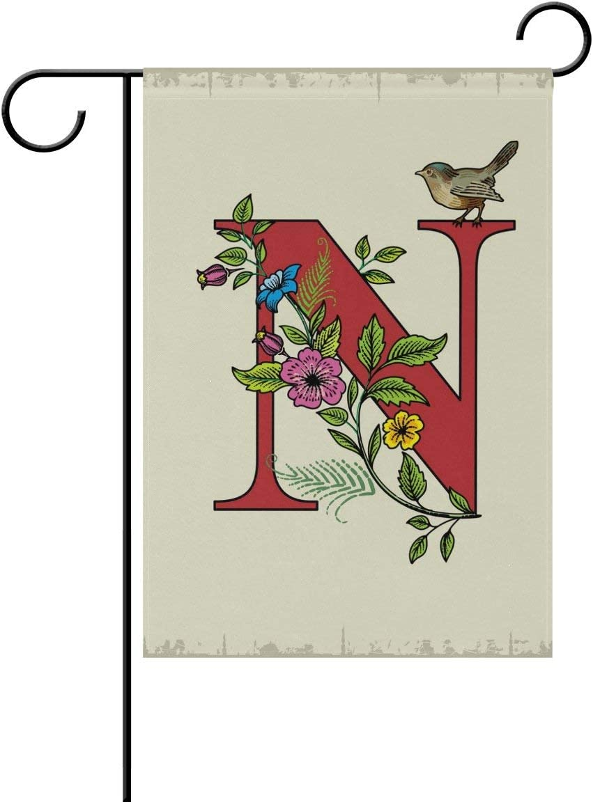 HOOSUNFlagrbfa Initial N Monogram Garden Flag 12 X 18 Inches, Flower Bird Double Sided Outdoor Yard Yall Garden Flag for Wedding Party House Home Decor