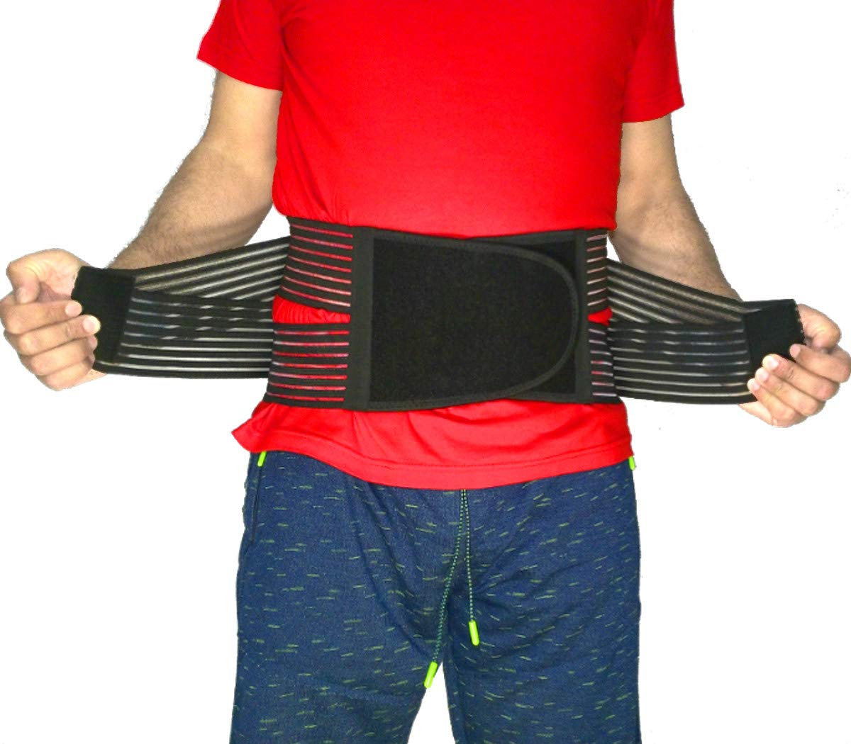 Best Back Brace Lumbar Support Belt for Lower Back Pain | Men & Women Under Clothes Breathable Fabric Big Size | Relief disc Sciatica Scoliosis Surgery Pain | Dual Stretch Heavy Lift (L/XL=35-45