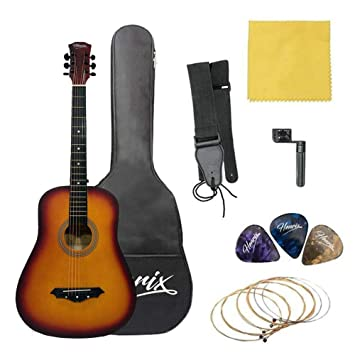 Henrix 38 Acoustic Guitar With Die Cast Tuners And Dual Action Truss Rod Includes Picks Bag Strings Strap Polishing Cloth And String Winder