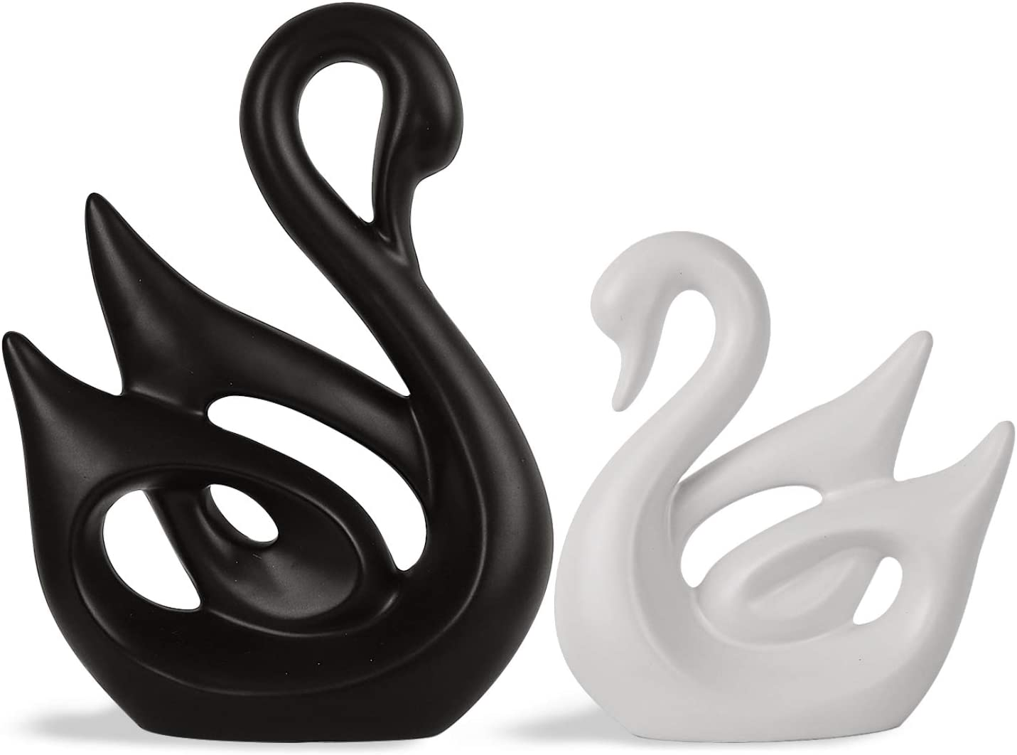 SANFERGE Ceramic Figurine Animal Porcelain Ornaments Crafts Art Sculpture Home Decor Accessories for Birthday Wedding Decorative Gifts (Swan)