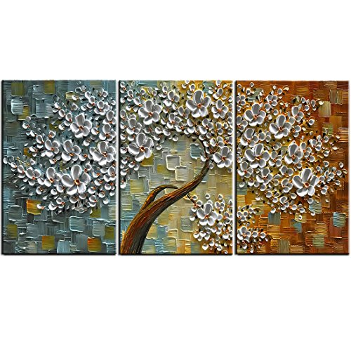 YaSheng Art - 3D Texture Flowers Oil Paintings , Modern Abstract Landscape Tree Paintings 3 Piece Canvas Wall Art Interior Living Room Decor Home Ready to Hang by YaSheng Art
