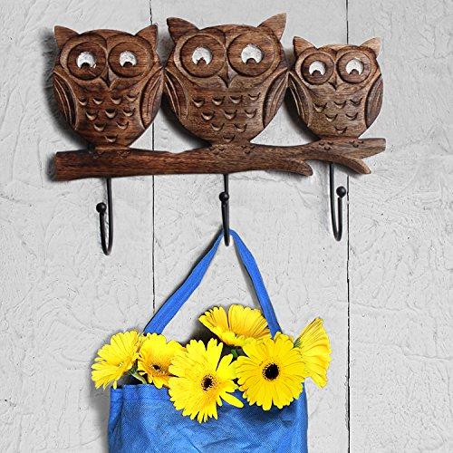 Store Indya – Wall Hooks Key Holders – Owl Wooden Coat Hangers by storeindya (Image #2)