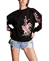 Kimloog Women Crew-Neck Winter Autumn Embroidery Applique Long Sleeve Casual Sweatshirt Cotton Pullover Tops