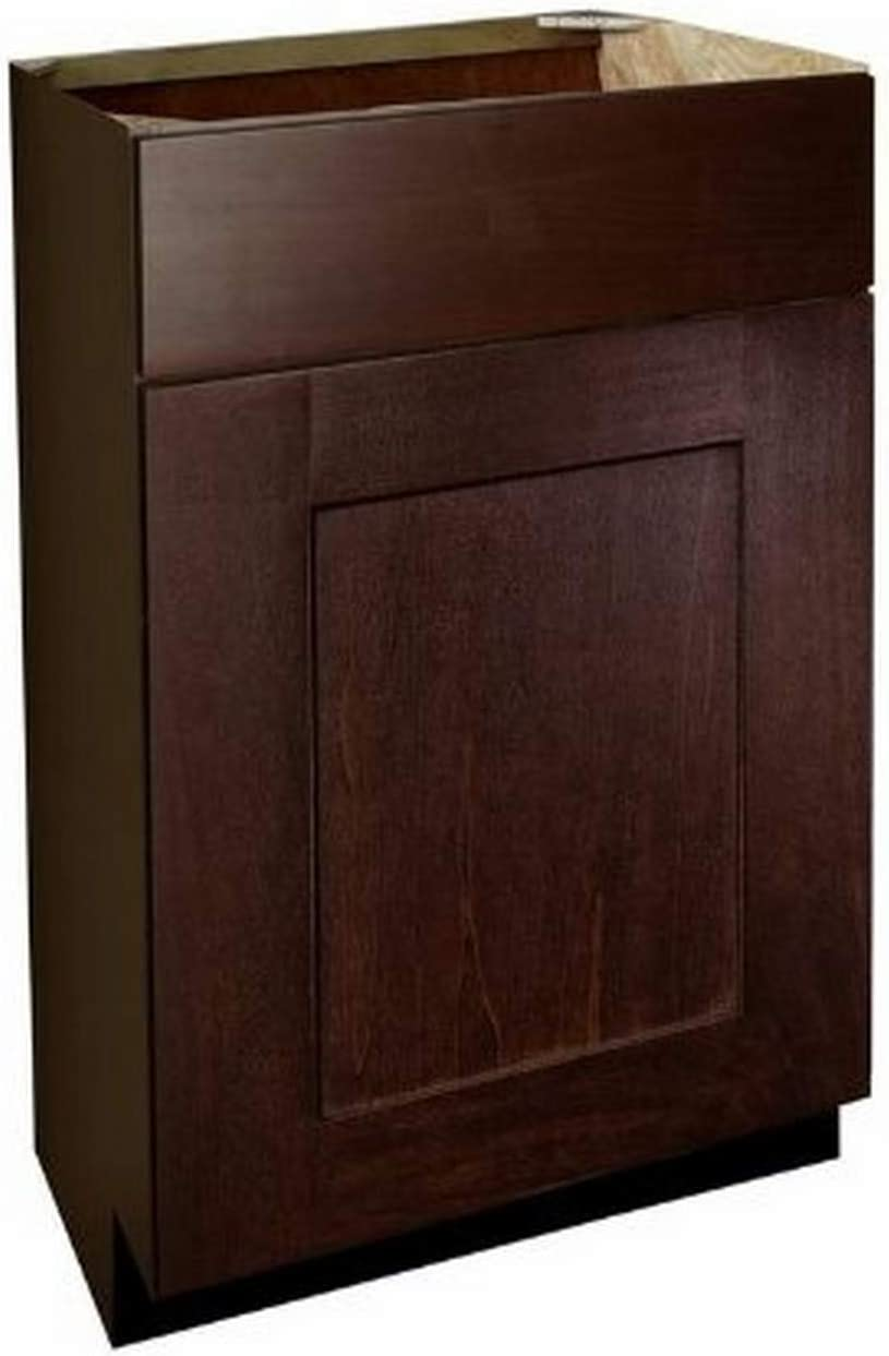 Shaker Panel Door Style Vanity Base with Drawer 18 Wide 18 Deep 30 High in a Maple Walnut Finish Model VB181830-SW Harbor City Millwork VB181830SW