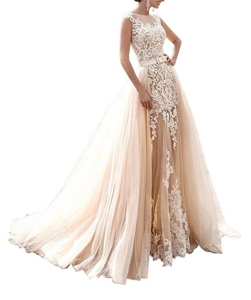 Hatail Bridal Applique Lace Mermaid Wedding Dress Sleeveless for Bride 2017