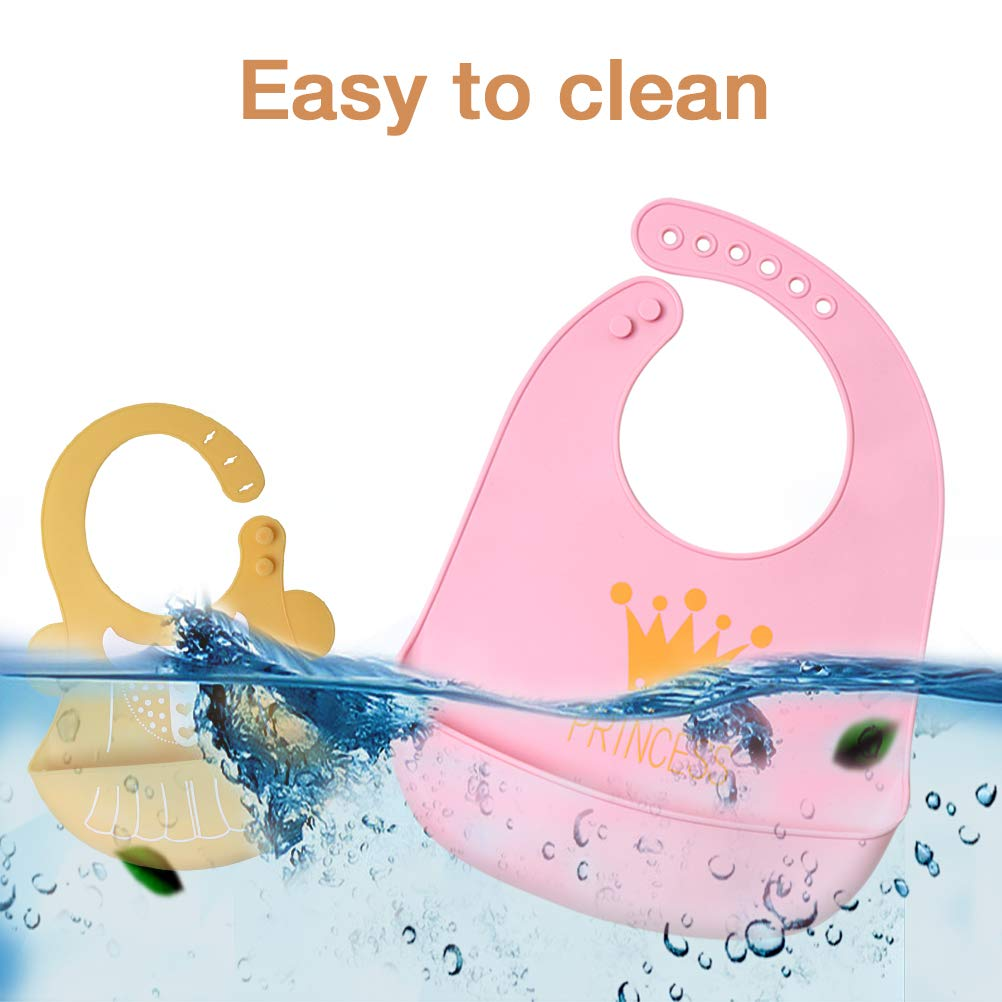 Comfortable Soft Silicone Bib Waterproof with 2 Pack Gum-Friendly Feeding Spoon Baby Feeding Bibs for Girls Set of 2 Easy Wipe Clean Perfect for Babies and Toddlers Pink /& Yellow
