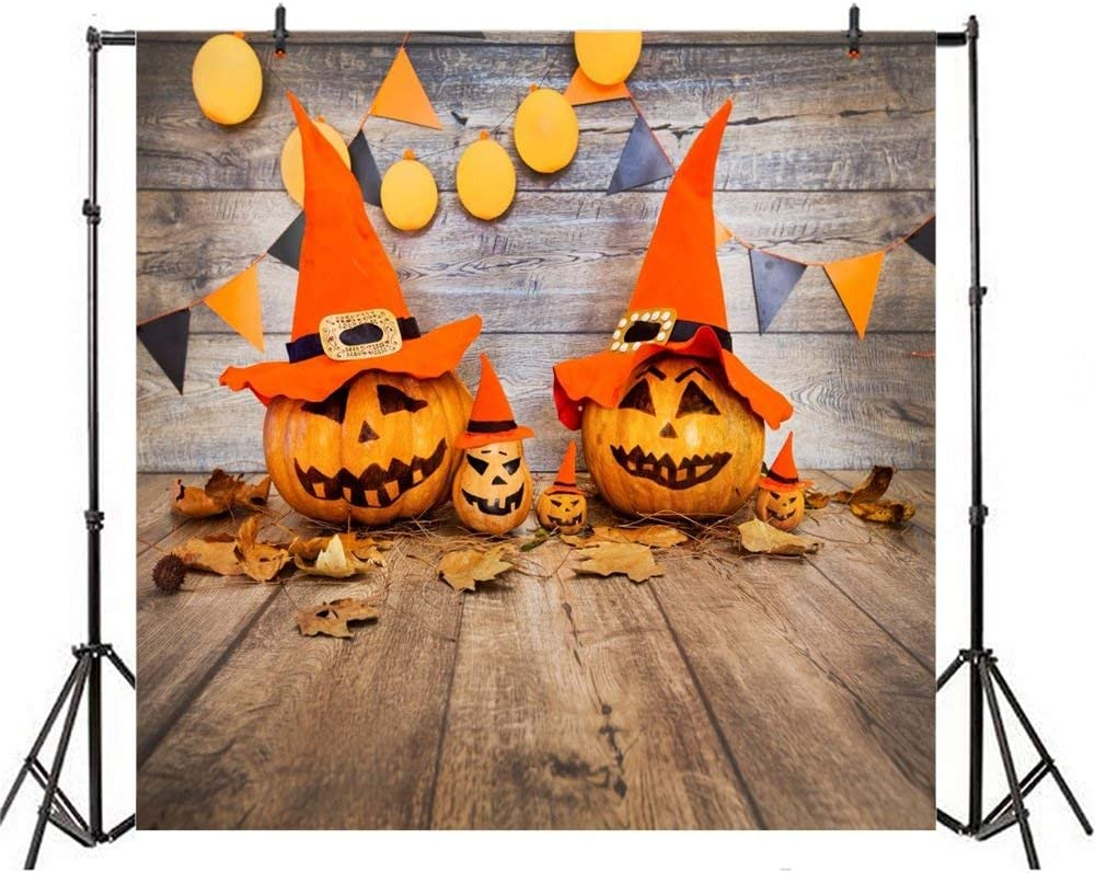 SZZWY Happy Halloween Backdrop 10x10ft Vinyl Photography Background Creepy Green Light Scarey Devils Talons Grinning Pumpkin Huge Bat Shadow Scene Trick or Treat Horror Night Party Shoot Poster