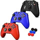 3 EN 1 Xbox One S / X FundaS Silicona, 6 Grips Texturizados Colores Azul, Negro y Rojo. Fundas de Silicon para controles de X