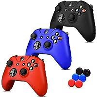3 EN 1 Xbox One S / X FundaS Silicona + 6 Grips Texturizados Colores Azul, Negro y Rojo. Fundas de Silicon para controles de XBOX Alomia - Estuches de silicon anti deslizantes, Fundas protectoras, Cubiertas para control de XBOX 1