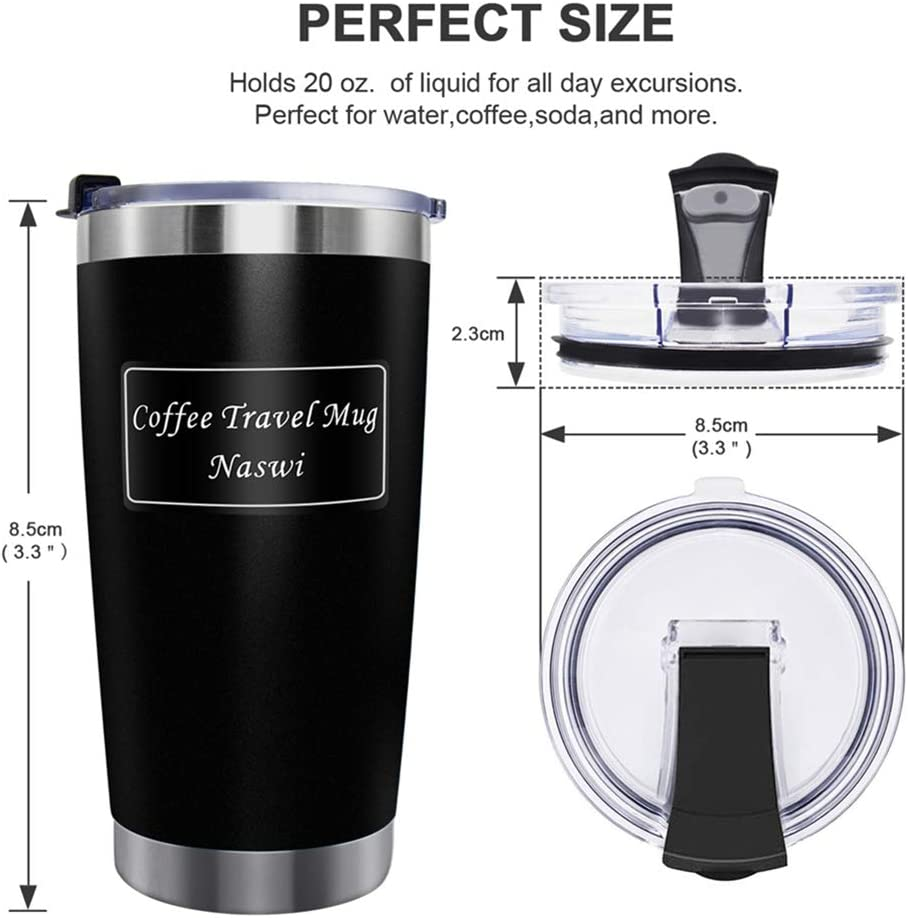 Naswi Coffee Travel Mug,Stainless Steel Cup 6 Hours Hot /& 24 Hours Cold Double Wall Vacuum Insulated Tumbler Travel Mug Insulated Water /& Coffee Cup Black, 20OZ