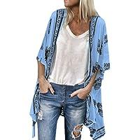 Women Fashion Boho Printed Sunscreen Half Sleeve Loose Sheer Chiffon Cardigan Tronet Summer Tops for Women 2019
