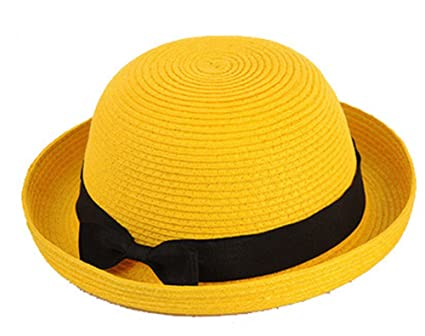 Fashion Lightweight Solid Color Band Braided Beach Panama Fedora Sun Hat Cap  (yellow) 8d9d8bd78e2e