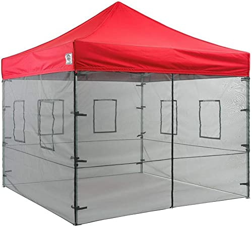 Impact Canopy Walls for 10 x 10 Canopy Tent, Food Service Mesh Sidewall Kit with Service Windows, 4 Walls Only, Black Mesh
