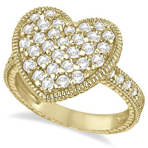 Puff Heart Diamond Ring 14k Yellow Gold - Ring Heart Puff