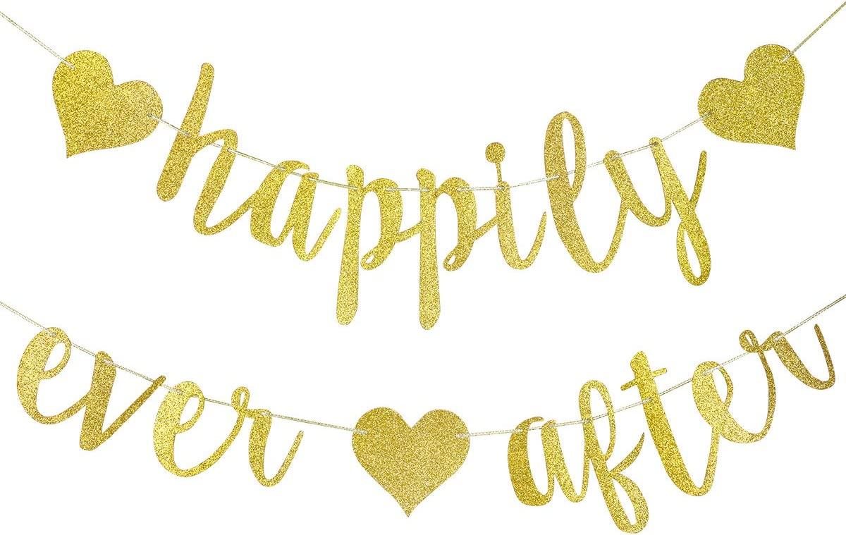 Happily Ever After Banner Gold Glitter,Wedding Bachelorette Engagement Party Bridal Shower Party Decoration Supplies