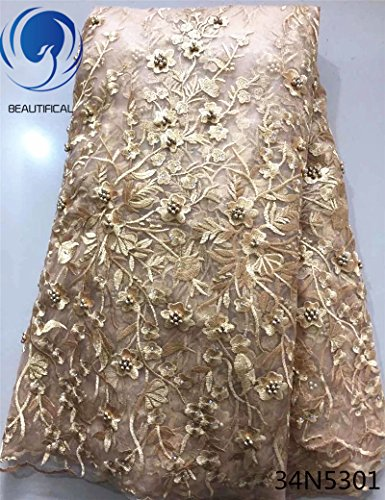 Beautifical Latest French Tulle Flower Embroidered African Lace (Taupe)