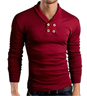 OUCHI Men's Pullover Cotton Sportwear Tee Slim Fit Casual Long Sleeve T-shirt Red