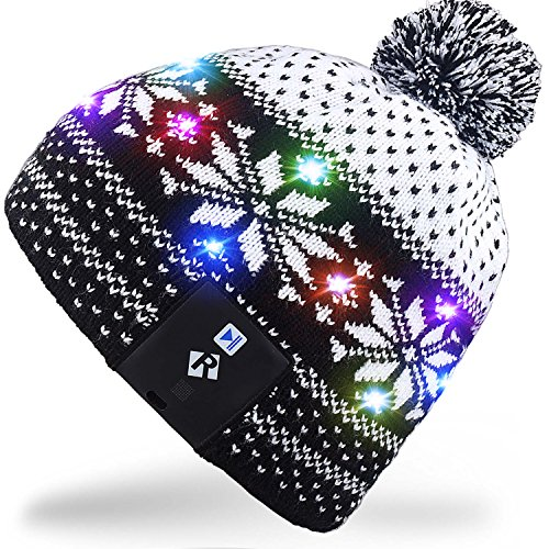 Mydeal Led String Light Up Beanie Hat Knit Cap With Copper Wire Colorful Lights 4 Feet 18 Leds For Men Women Indoor And Outdoor  Festival  Holiday  Celebration  Parties  Bar  Christmas Gifts   Black