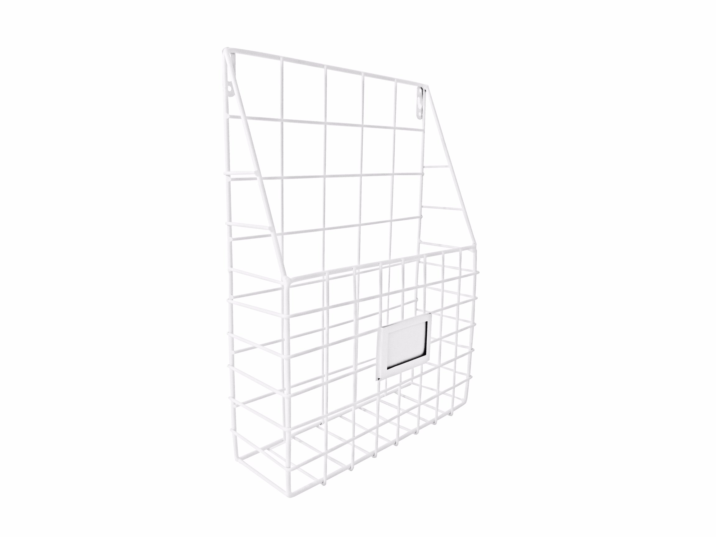 Wall File Organizer Metal White - Simple Chic Adhesive Mounted Wall Organizer, Storage Basket for Magazine, Mail Holder, Office Supplies and Decorations - by Lastly