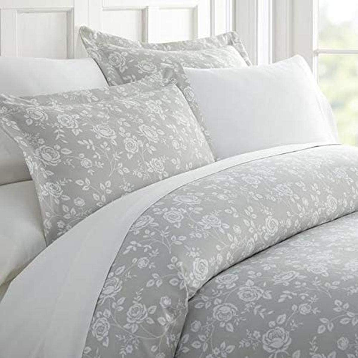 Home Collection iEnjoy Home Hotel Collection Premium Ultra Soft Rose Pattern 3 Piece Duvet Cover Bed Sheet Set, King/California King, Light Gray