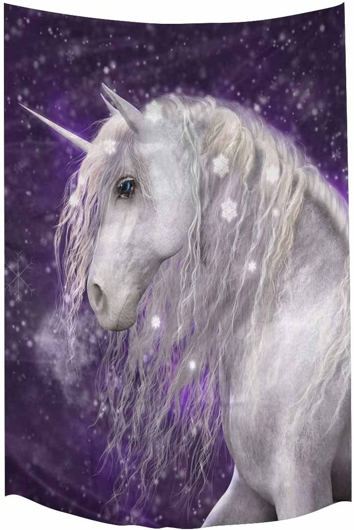 INTERESTPRINT White Unicorn with Purple Background and Falling Snow Tapestry Wall Hanging Art Cotton Linen Tapestries for Living Room Bedroom Dorm Decor, 60 W by 90 L