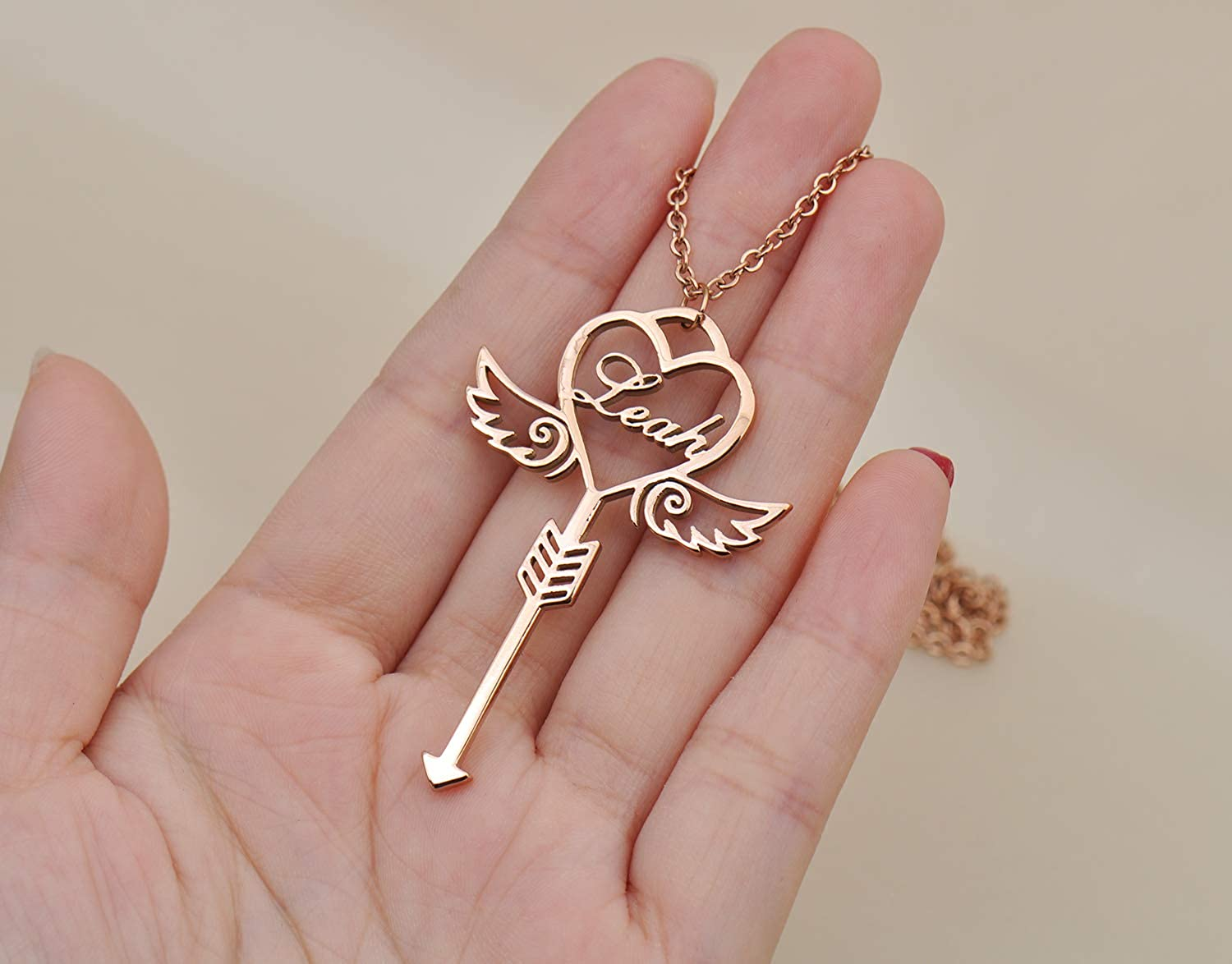 Love Wind Name Necklace Personalized Customized Initial Monogram Necklace Key Pendant Girls Jewelry