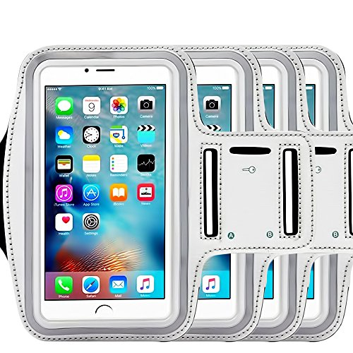 ([4 Pack]Water Resistant Sports Armband CaseHQ for iPhone 7/7 Plus, 6/6S Plus (5.5-Inch), Galaxy S6/S7 Edge, y Note 5, with Key Holder/ Flap High Visibility Night Reflective Running Exercise Armband)