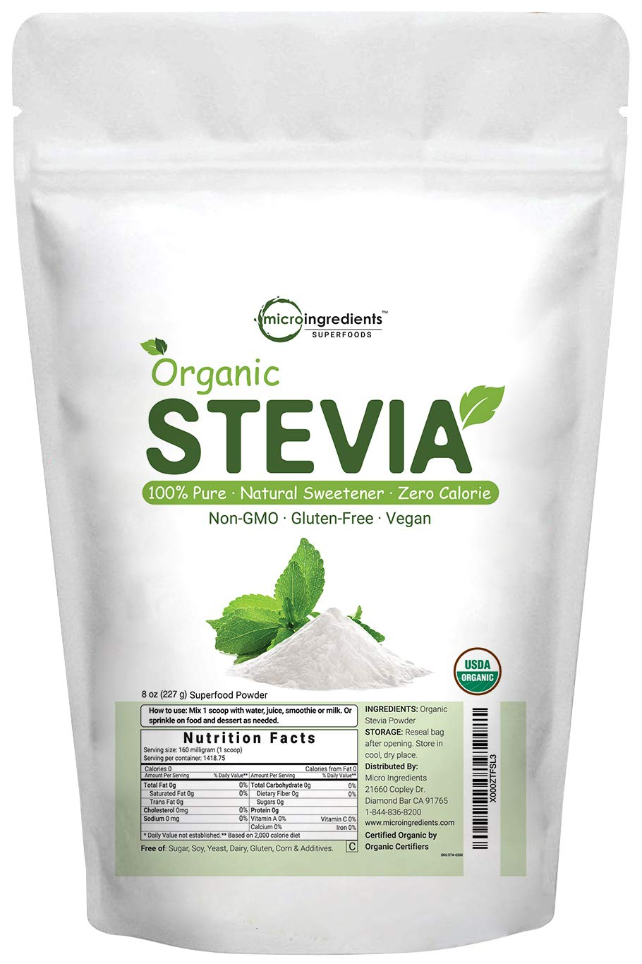 Pure Organic Stevia Powder, 8 Ounce, 1418 Serving, 0 Calorie, Natural Sweetener and Sugar Alternative, No GMOs and Vegan Friendly by Micro Ingredients (Image #7)