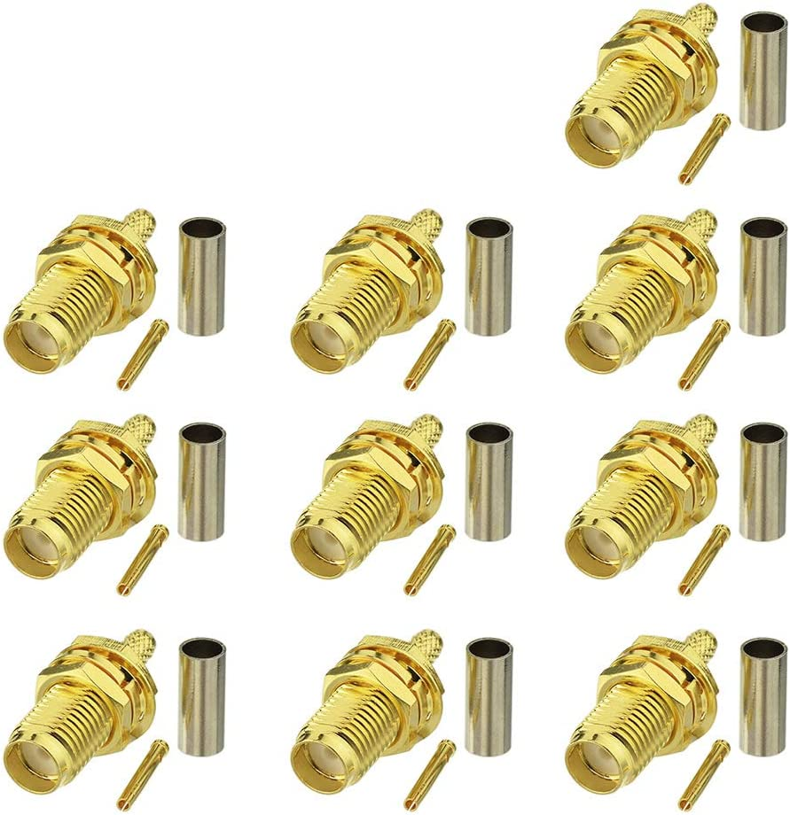 Eightwood 10pcs SMA Female Bulkhead Crimp Connector Gold-Plated for RG316 RG174 Cable